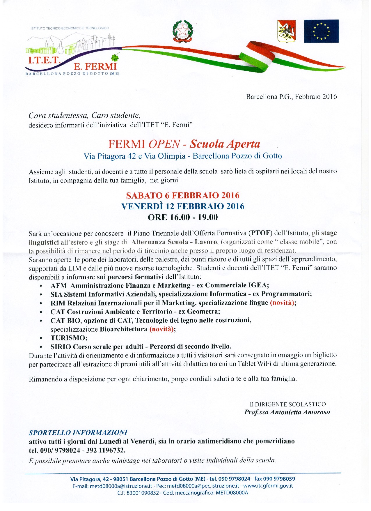 Open Day 6 febbraio 2016